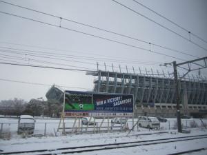 鳥栖駅は雪でした