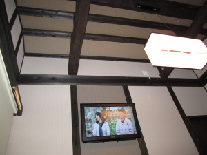 ふぶ庵の壁掛けテレビ