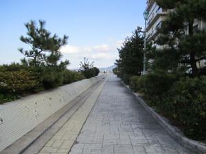 皆生温泉の海岸遊歩道
