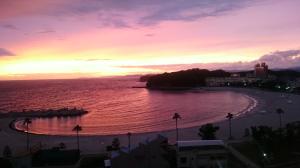 旅館:「ホテル三楽荘」さんの部屋から望む夕日